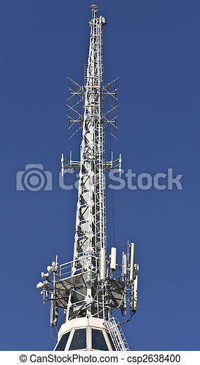 Communication tower with TV, cell phone and Radio antennas - csp2638400