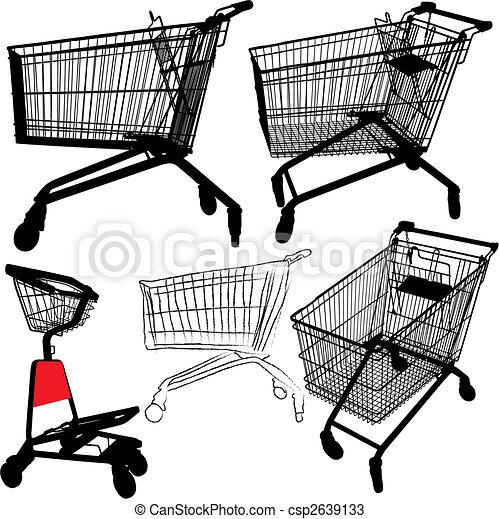 Shopping cart silhouettes - csp2639133