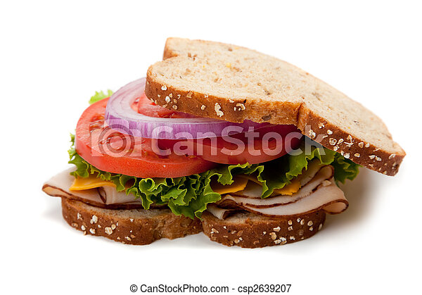 Turkey sandwich on whole grain bread - csp2639207
