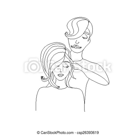 woman getting haircut by hairdresser - csp26393619