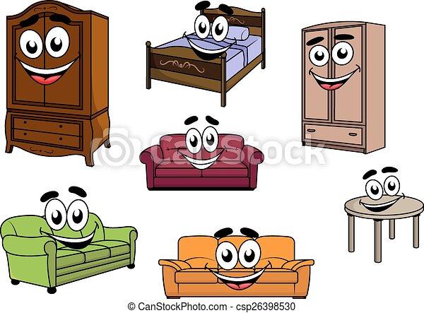 vecteurs de armoires caract res lit sofas table. Black Bedroom Furniture Sets. Home Design Ideas