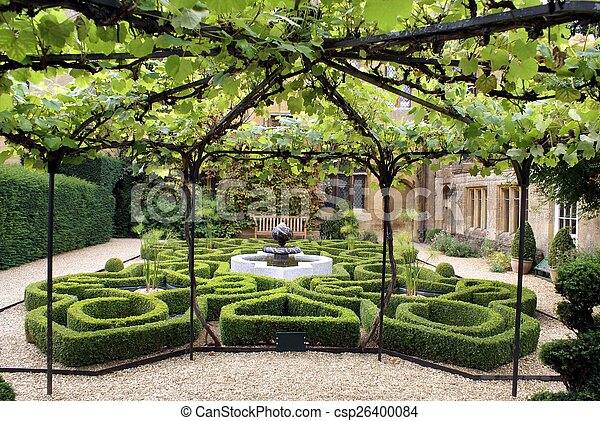 knot garden with a fountain