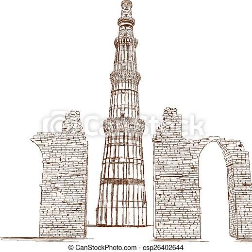 EPS Vector of Qutub Minar, Delhi, India - Vector - Qutub ... Qutub Minar Sketch For Kids