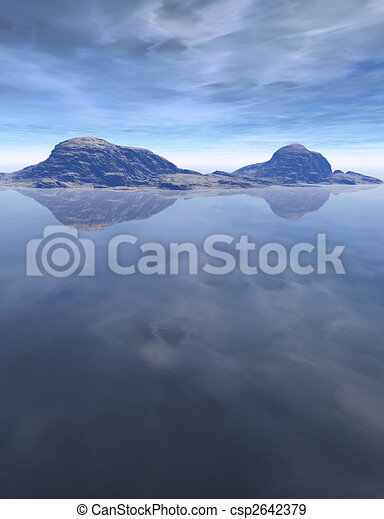 Computer generated Landscape with water, sky and mountains - csp2642379