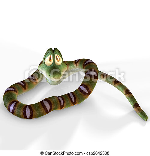 very cute cartoon snake lying on the floorimage contains a Clipping Path / Cutting Path - csp2642508