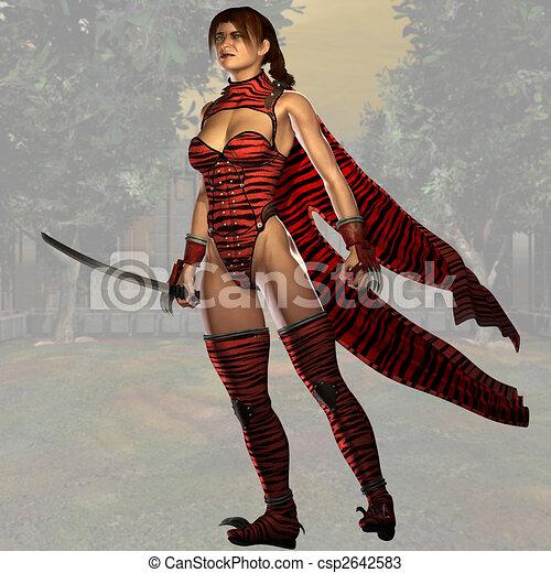 Female Ninja Fighter #02 - csp2642583