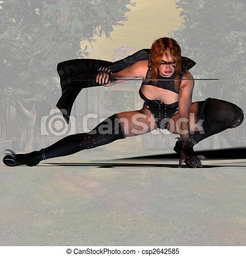 Female Ninja Fighter #01 - csp2642585