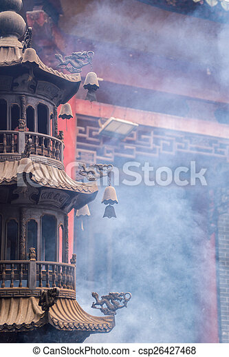 tower shape incense burner in a temple - csp26427468