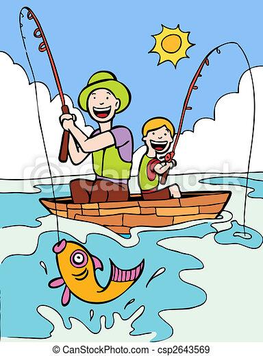 父親, 兒子, 釣魚, 旅行 - csp2643569