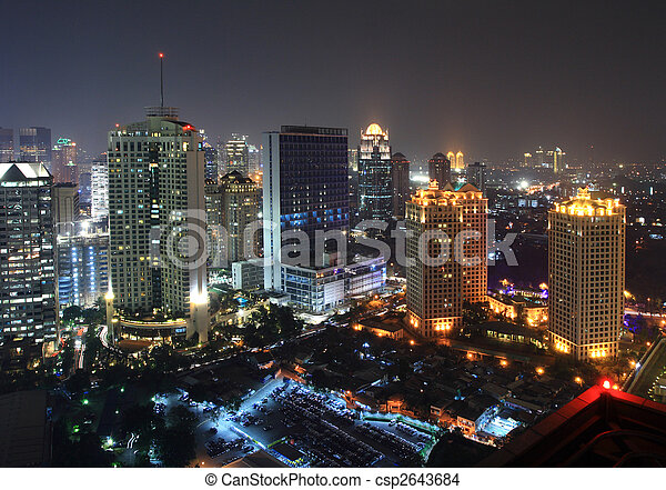 cidade, noturna - csp2643684