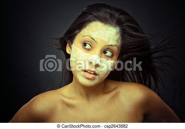 Cosmetician make mask to girl. Facial massage. - csp2643882
