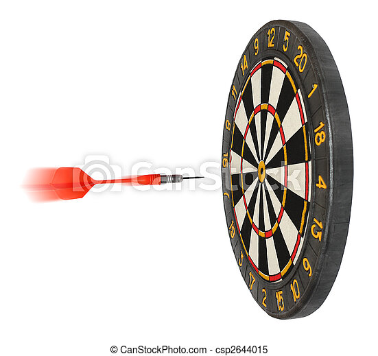 dartboard with dart flying in aim - csp2644015