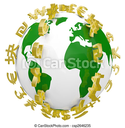 Global World Currency Symbols Around World - csp2646235