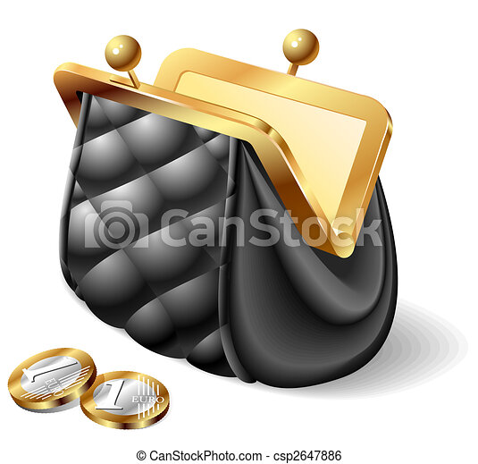 Old purse with coins - csp2647886