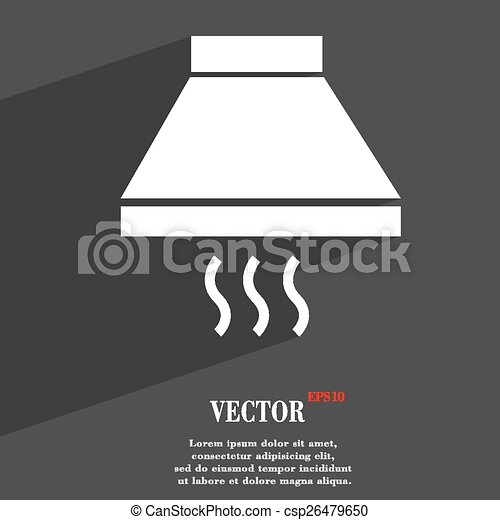 Kitchen Hood Icon Symbol Flat Modern Web Design With Long Shadow And Space  For Your Text
