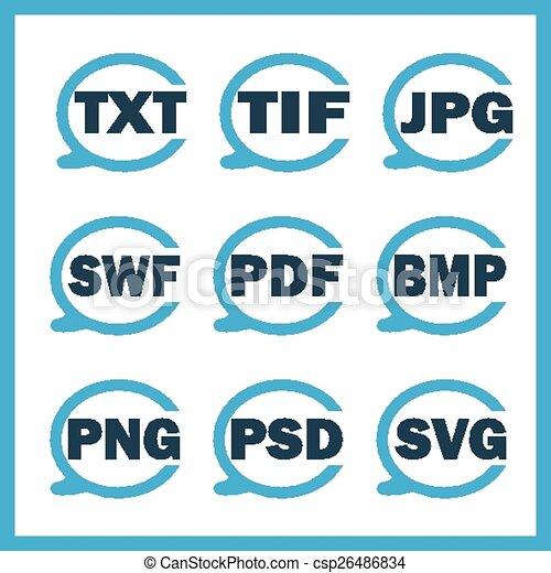 digitale,  Set, formaten, Het indiceren, iconen - csp26486834