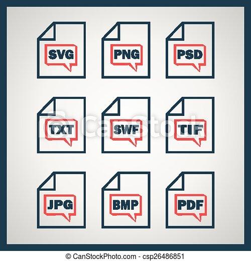digitale,  Set, formaten, Het indiceren, iconen - csp26486851