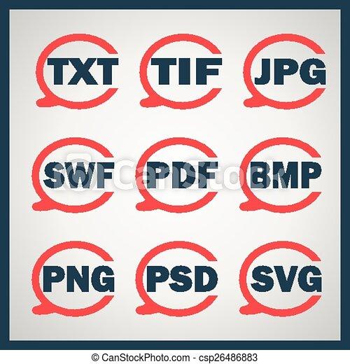 digitale,  Set, formaten, Het indiceren, iconen - csp26486883