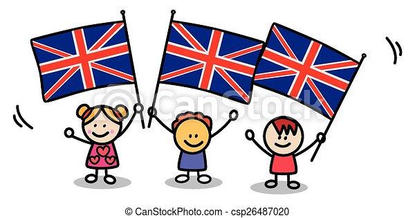 Ilustraciones de vectores de bandera ni os inglaterra - Dibujo bandera inglesa ...