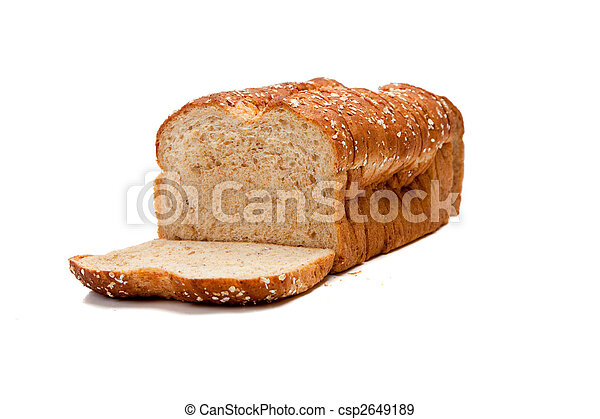 A loaf of whole grain bread on white - csp2649189