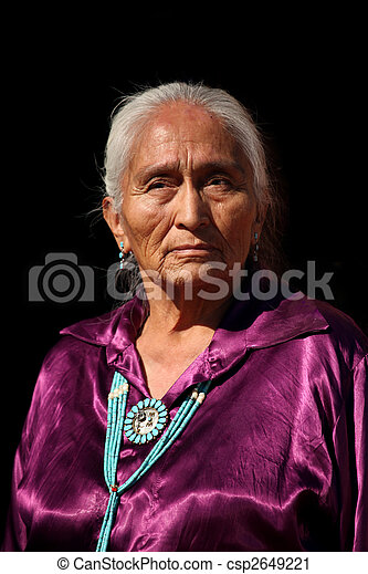 Navajo Elder Wearing Handmade Traditional Turquoise Jewelry - csp2649221