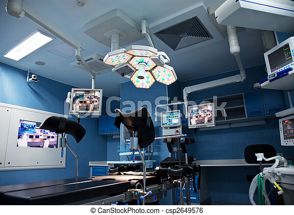 urology surgery room with lights  and monitors on - csp2649576