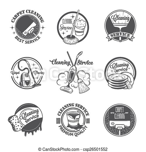 Clipart Vector of Set of vintage logos, labels and badges cleaning ...