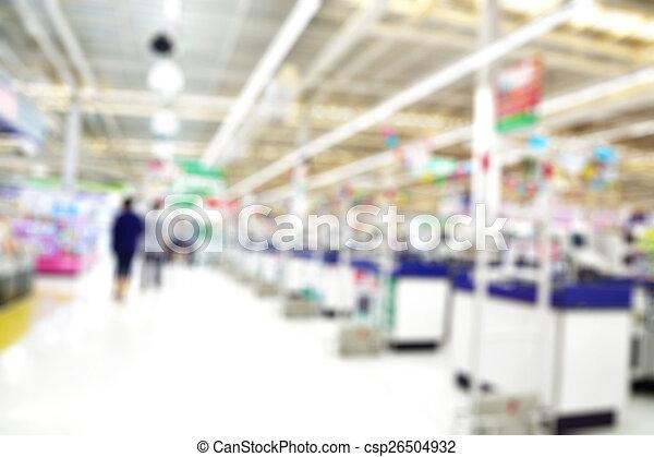 Supermarket store blur background , Cashier counter with customer