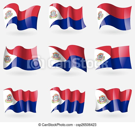 Set of Saint Martin flags in the air. Vector - csp26506423