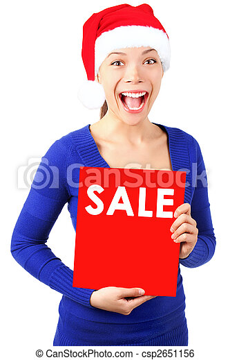 Woman with christmas sale sign  - csp2651156