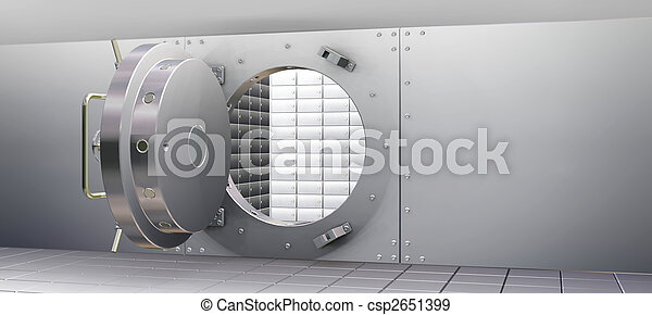 Bank Vault and Safety Deposit Boxes - csp2651399