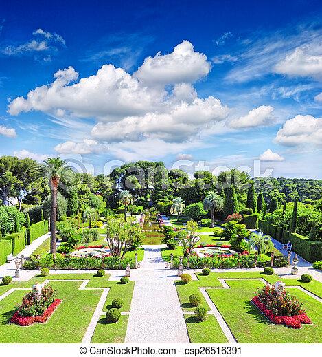beautiful mediterranean garden on the french riviera
