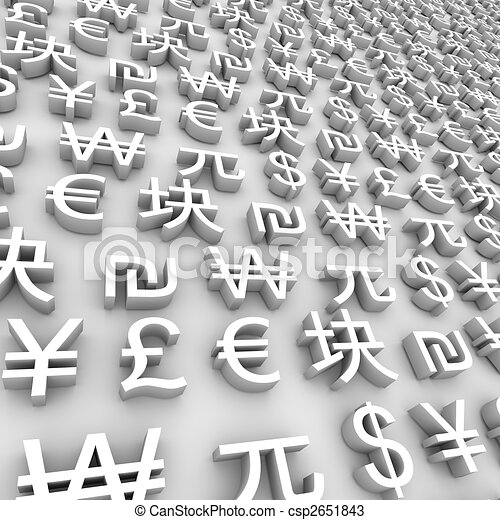 Global Currency Symbols - White - csp2651843