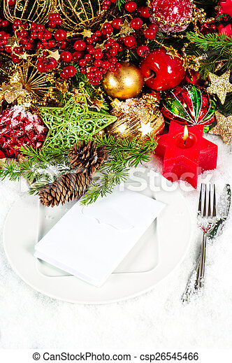 candle light dinner. christmas table place setting