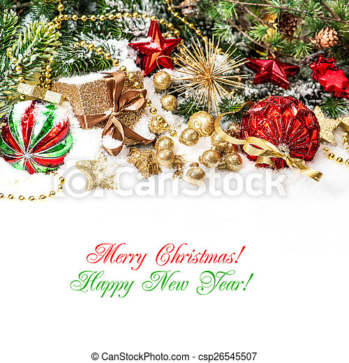decorations in red, gold green with christmas tree branches