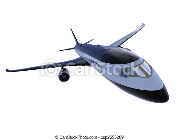 Black aircraft isolated view - csp2655269