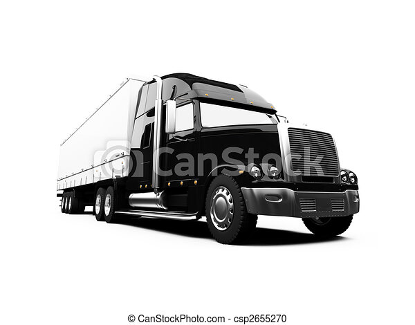 Semi Truck Black And White Black Semi Truck on White