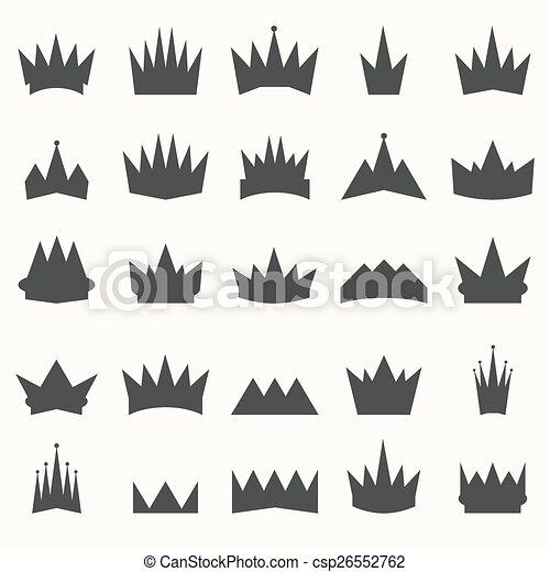 Crown icons set. Heraldic design elements - csp26552762