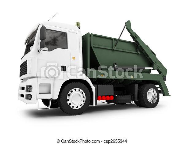 isolated trash dump car on white background - csp2655344