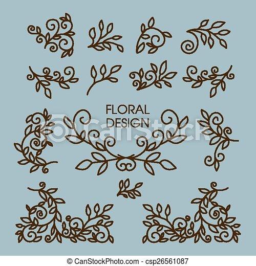 Vector set of floral line design elements for logos - csp26561087