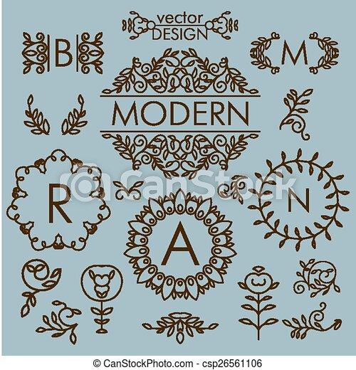 Vector set of floral line design elements for logos - csp26561106