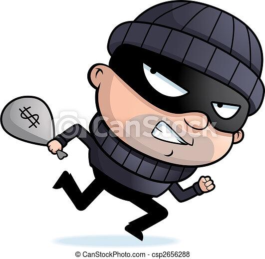 Cartoon Thief Running Burglar Running a Cartoon