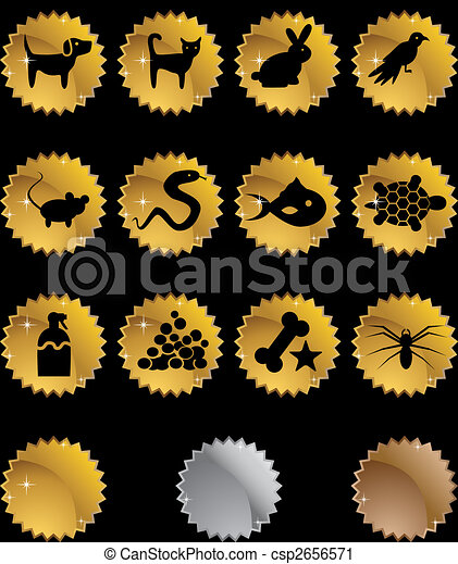 Pet Icon Set Gold - csp2656571