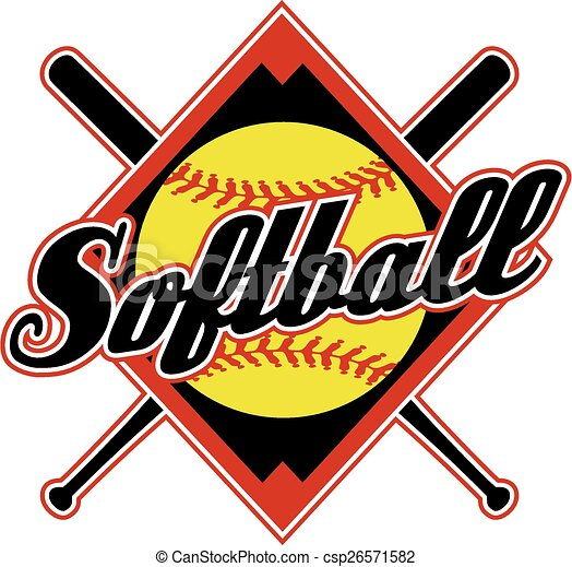 Vector Of Softball Design With Crossed Bats And Diamond Background Csp26571582 Search Clip Art