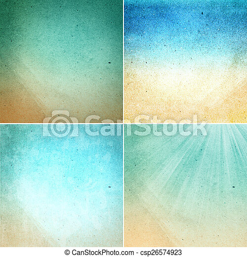 Set of Water colored recycled paper texture or backgrounds in