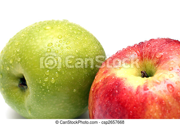 wet green and red apple fruits - csp2657668