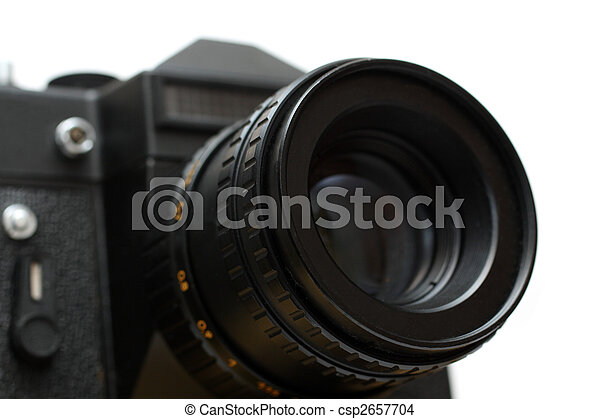black slr camera with lens close-up - csp2657704