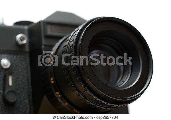 black slr camera with lens close-up - csp2657704