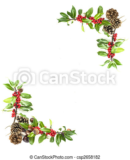 holly and red berries border - csp2658182