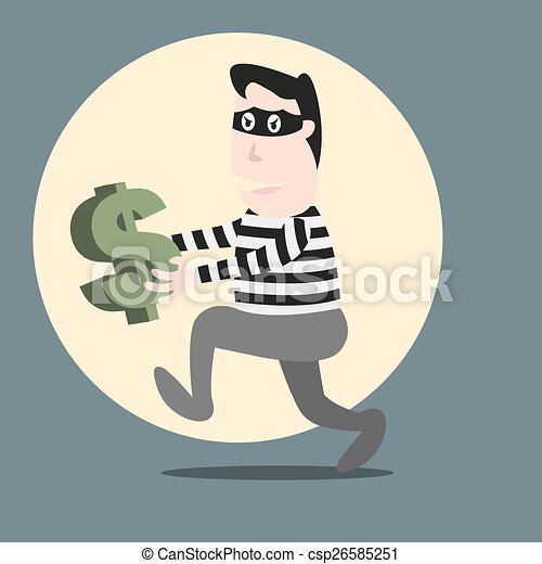 Thief Running With Money Thief Running Stealing Money